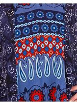 Sleeveless Printed Panelled Top Blue/Coral - Gallery Image 3