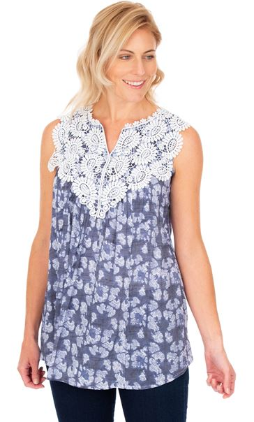 Crochet Trimmed Sleeveless Print Top French Blue/White