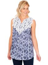 Crochet Trimmed Sleeveless Print Top French Blue/White - Gallery Image 1