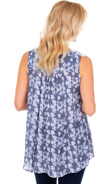 Crochet Trimmed Sleeveless Print Top French Blue/White - Gallery Image 2