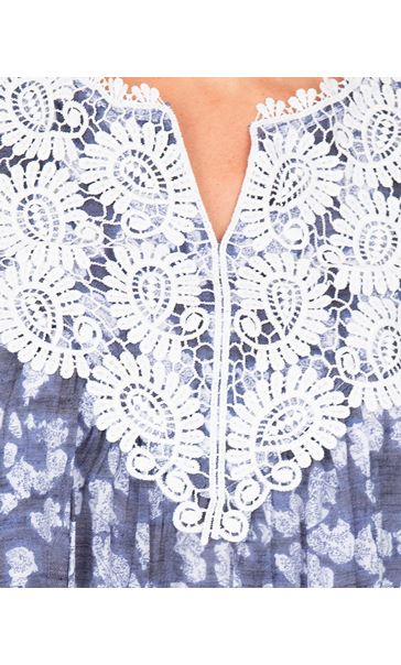 Crochet Trimmed Sleeveless Print Top French Blue/White - Gallery Image 3