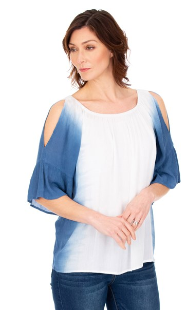 Dip Dye Cold Shoulder Top Blue/White