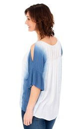 Dip Dye Cold Shoulder Top Blue/White - Gallery Image 2