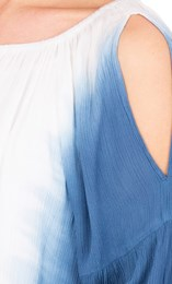 Dip Dye Cold Shoulder Top Blue/White - Gallery Image 3