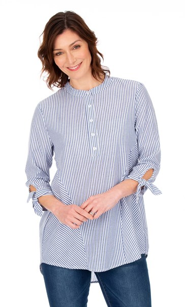Oversized Seersucker Striped Top Blue