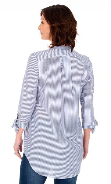 Oversized Seersucker Striped Top Blue - Gallery Image 2