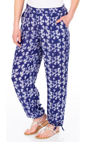 Printed Tie Hem Pull On Trousers French Blue/White