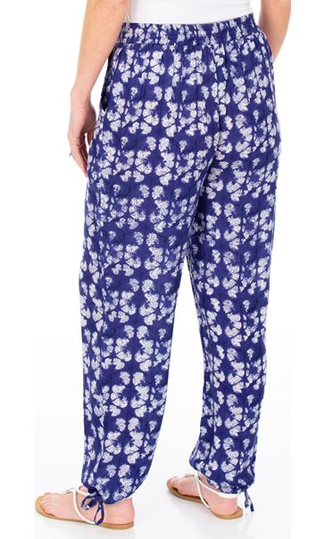 Printed Tie Hem Pull On Trousers