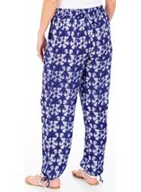 Printed Tie Hem Pull On Trousers French Blue/White - Gallery Image 2