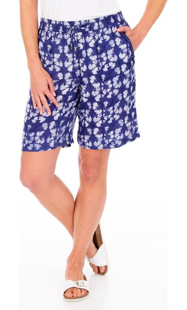 Printed Pull On Shorts French Blue/White