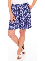 Printed Pull On Shorts French Blue/White - Gallery Image 1
