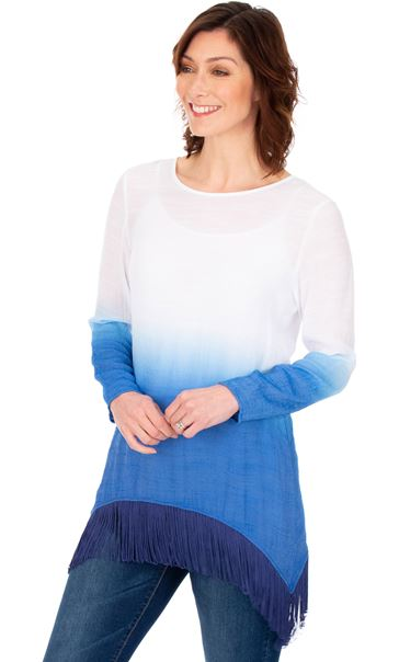 Ombre Dipped Hem Tassel Tunic French Blue/White