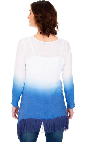 Ombre Dipped Hem Tassel Tunic French Blue/White - Gallery Image 2