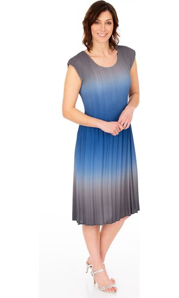 Ombre Pleated Midi Dress Grey/Blue