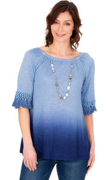 Round Neck Ombre Jersey Top French Blue/Lt Blue