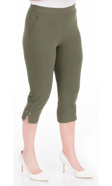 Fitted Cropped Stretch Trousers Green