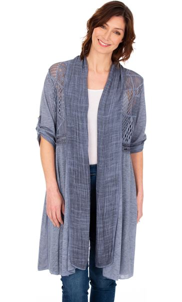 Longline Three Quarter Sleeve Lace Trim Cardigan French Blue