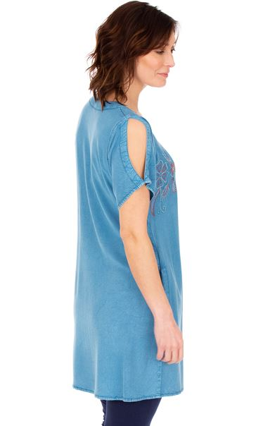 Short Sleeve Embroidered Tunic Lt Denim - Gallery Image 2