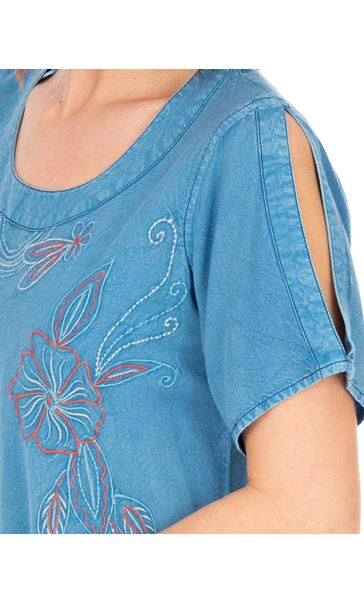 Short Sleeve Embroidered Tunic Lt Denim - Gallery Image 3