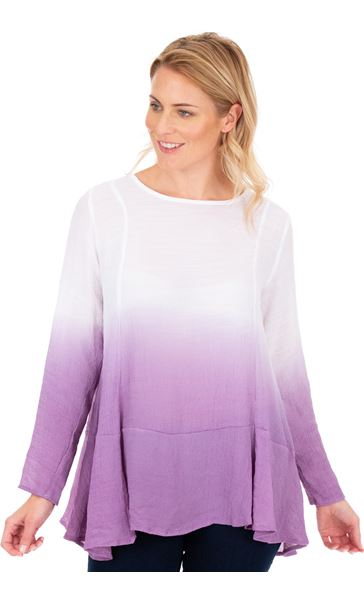 Long Sleeve Ombre Tunic Lilac/White