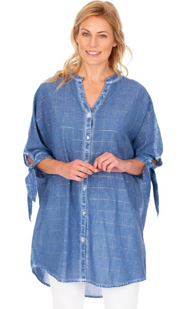 Oversized Tie Sleeve Cotton Shirt Blue