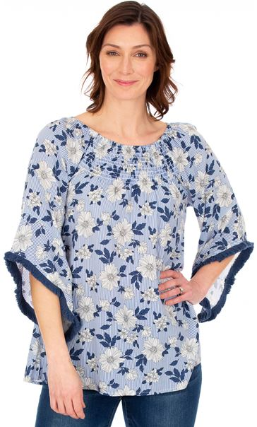 Stripe And Floral Wide Bell Sleeve Top White/Blue