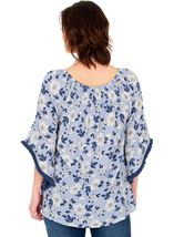 Stripe And Floral Wide Bell Sleeve Top White/Blue - Gallery Image 2
