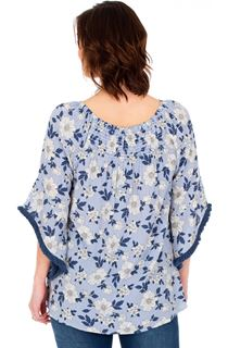 Stripe And Floral Wide Bell Sleeve Top