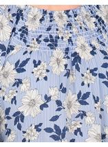 Stripe And Floral Wide Bell Sleeve Top White/Blue - Gallery Image 3