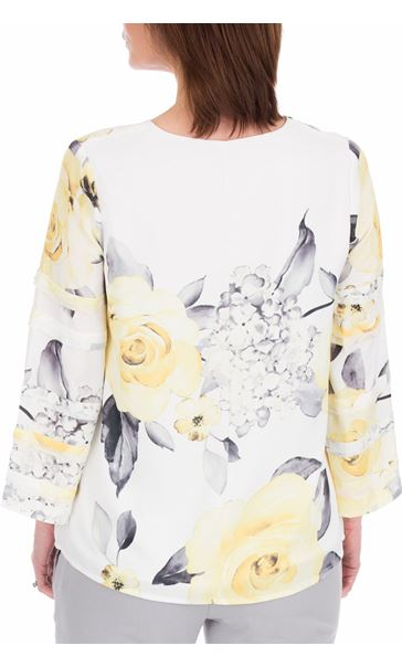 Anna Rose Floral Print Long Sleeve Top Ivory/Soft Yellow - Gallery Image 2