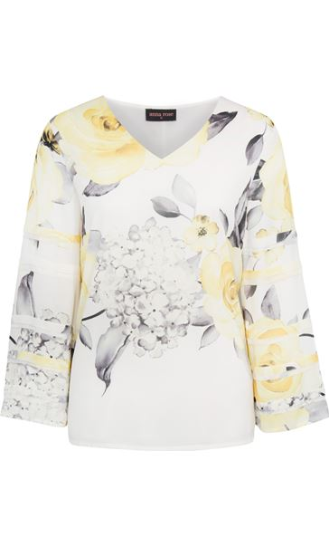 Anna Rose Floral Print Long Sleeve Top Ivory/Soft Yellow - Gallery Image 4