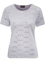 Anna Rose Textured Short Sleeve Top Grey - Gallery Image 1
