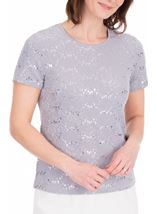 Anna Rose Textured Short Sleeve Top Grey - Gallery Image 2