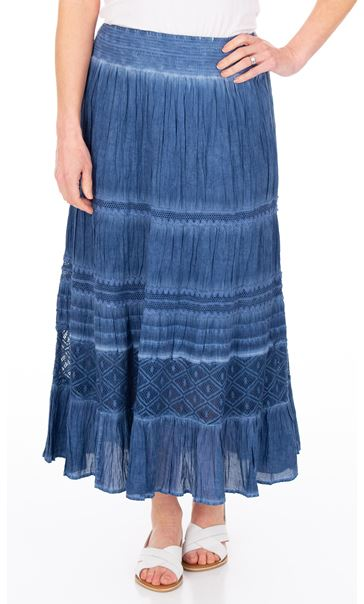 Anna Rose Lace Panel Midi Skirt Blue