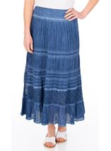 Anna Rose Lace Panel Midi Skirt Blue - Gallery Image 1