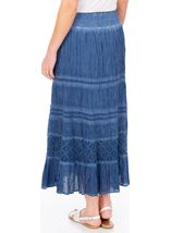 Anna Rose Lace Panel Midi Skirt Blue - Gallery Image 2