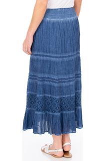 Anna Rose Lace Panel Midi Skirt - Blue