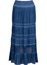 Anna Rose Lace Panel Midi Skirt Blue - Gallery Image 3