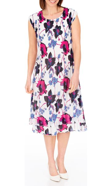 Anna Rose Floral Print Layered Midi Dress Multi