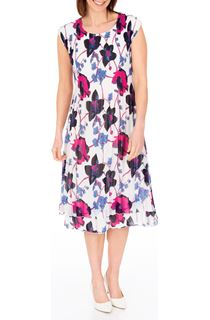 Anna Rose Floral Print Layered Midi Dress