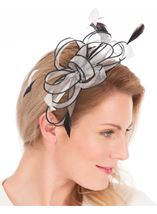 Orangza Headband Fascinator Ivory/Black - Gallery Image 1
