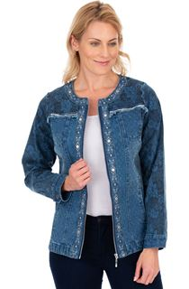 Printed Panelled Zip Denim Jacket