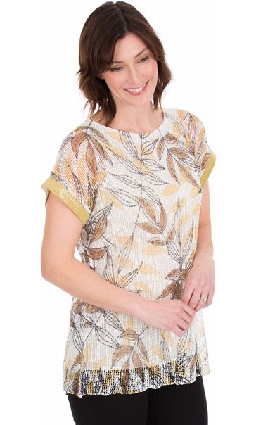 Leaf Print And Sequin Trim Crochet Top Mustard/Grey