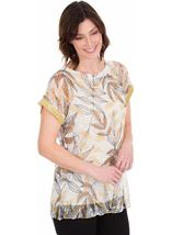 Leaf Print And Sequin Trim Crochet Top Mustard/Grey - Gallery Image 1