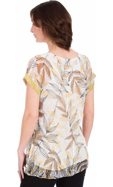 Leaf Print And Sequin Trim Crochet Top Mustard/Grey - Gallery Image 2