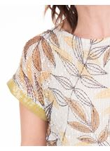 Leaf Print And Sequin Trim Crochet Top Mustard/Grey - Gallery Image 3