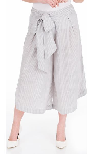 Striped Cotton Pull On Culottes Grey/White