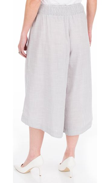 Striped Cotton Pull On Culottes Grey/White - Gallery Image 2