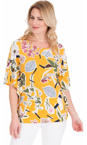 Floral printed Short Sleeve Jersey Top Mustard