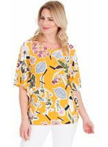 Floral printed Short Sleeve Jersey Top Mustard - Gallery Image 1